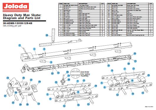 Ersatzteilliste Palettenroller SK-HDMX-120SR-12R-4B